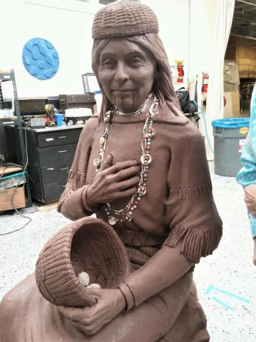Enlarged clay sculpture of Lucy Dick